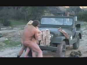 Horny soldier drilling nasty blonde babe outdoors
