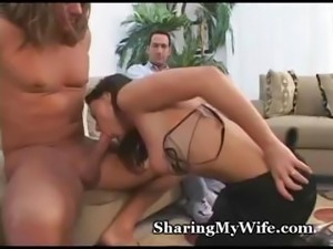 Poor old hubby watches on as her horny wife takes another man's cock