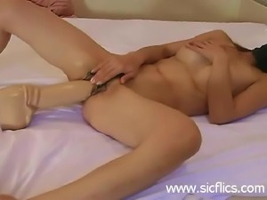 Submissive slut fucking a monster dildo till she orgasm