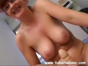 Housewife from Italy wearing nylons takes on two dicks and a dildo