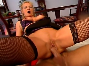 Horny blonde curly hair MILF with milky tits enjoys a hardcore fucking on the...