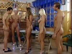 group of 5 people pissing and fucking. 3 hot girls...