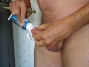 Paint brush fucking my urethra cock hole to come