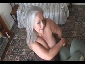 Attractive busty granny in stoc ... free