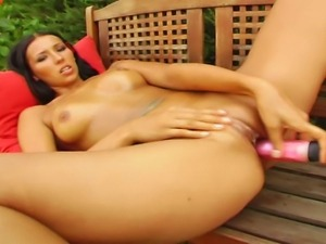 Luscious long-legged euro brunette strips and masturbates, she is getting...