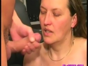 Nice European Brunette with big saggy tits gets nasty on the counch. Good...