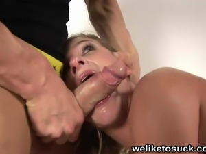 Horny slut gasps for air as she had her throat pummeld by her man's big...
