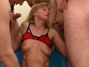 Naughty blonde slut opens wide for huge cocks in hot gang banging