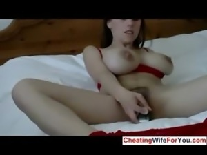 Slut with big tits plays with a big toy
