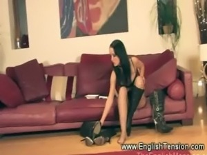 Worthless guy watches mistress getting wet free