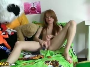 Sleeping panda aroused by masturbating teen