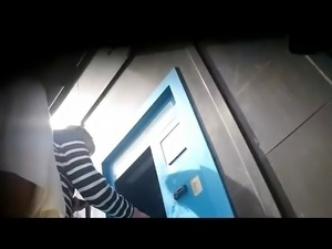 Upskirt Teen Silky Thong At Cashpoint