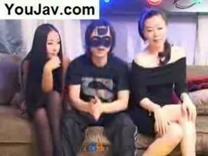 Lucky Chinese Guy fucking 2 Japanese/Korean girls in Black free