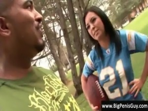 Big penis guy meets sexy tight Jackie in her football shirt free