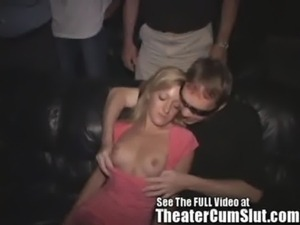 Petite Girl Has Group Sex in a Seedy Porn Theater free