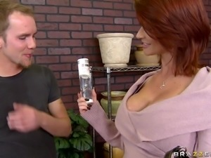 joslyn james gets her giant globes glazed!