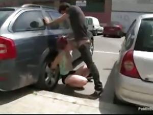 Bondage babe sucks and fucks in the streets