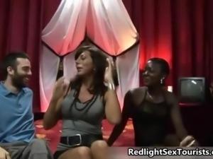 Black prostitute sucking an Italian guy