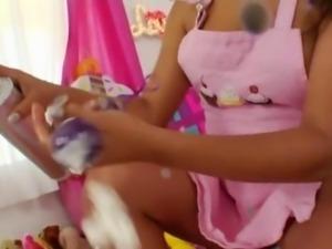 Whipped cream in her opened bottom