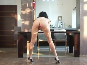 slutty brunette shows what she has