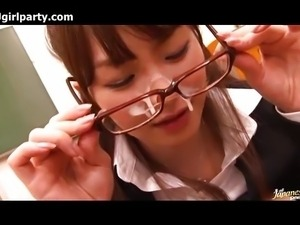 Japanese Teacher Gets A Cum Facial On Glasses