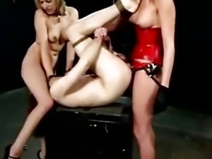 Audrey Leigh and Lexi Belle pegging slave