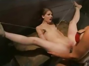 Bound babe flogged and strapon dildo fucked