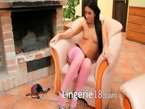 beautiful super brunette with pink socks