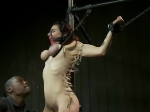 Annika gets difficult chain only suspension bondage, explores latex, endures...