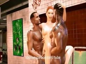 3D anime Subway gangbang