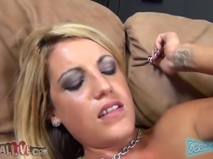 blonde slut with long hair gives head