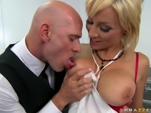 short haired babe getting her tits massaged