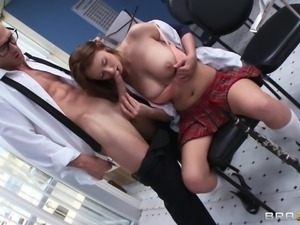 hot boobs school girl gives head and titjob