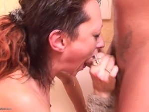dirty mature giving head and spitting in the toilet