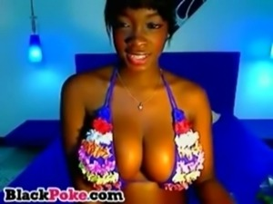 Beautiful ebony babe with big tits teasing free