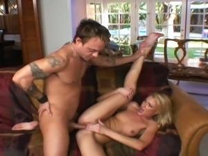 Blonde slut rides big hard dong