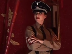 Nazi pussy gets fucked by a fat black cock in the ass