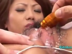 Asian Girl Getting Her Pussy Filled Up With Jelly Fucked With Toys By 3 Guys...