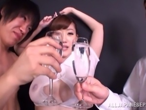 a toast for her huge boobs