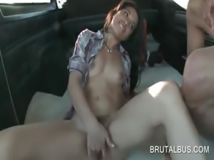 Sex bus cutie finger fucking her hairy twat in the bus