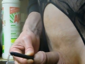 HUSBAND SQUIRTS THRU TUBE IN URETHRA