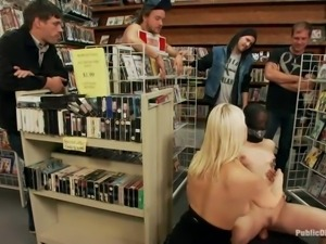 busty milf gets public disgraced in book store
