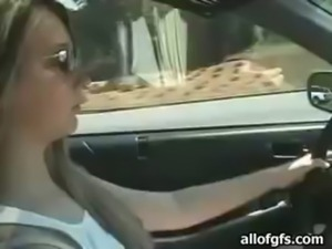 Gorgeous blonde amateur Lindsey Dawn gets mouthful after blowjob in the car free