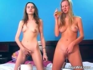 Slutty brunette and blonde girls piss free