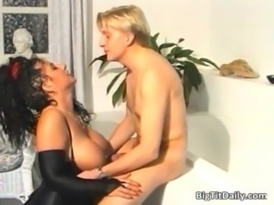 Sexy brunette bitch with big tits gets free