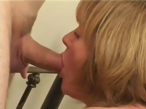 Chubby blonde mature being fucked by two dicks