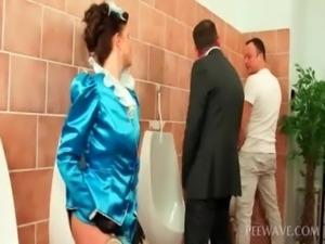 Slut eating pissing dicks in bathroom free