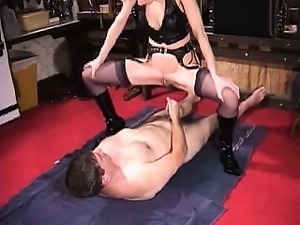 Sexy blonde mature dominatrix bizarre golden shower for her slave