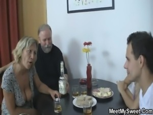 Blonde girl have fun fucking with old parents of her BF free