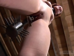 hazel has weight hung from pussy